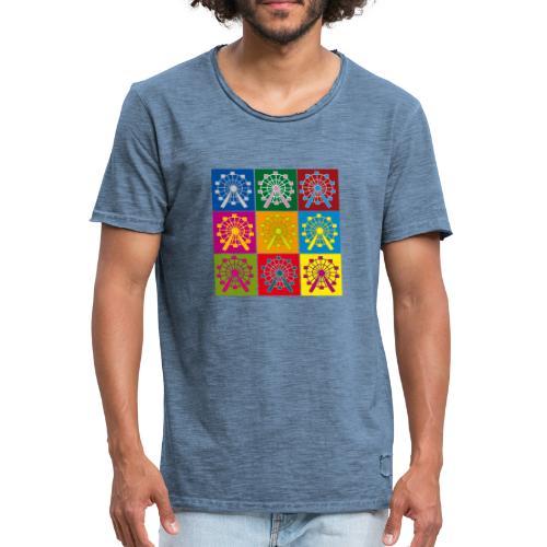 Männer Vintage T-Shirt: Wien Riesenrad Popart - Männer Vintage T-Shirt