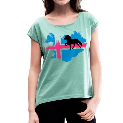 Isi Love - NEON mit Wunschtext - Frauen T-Shirt mit gerollten Ärmeln