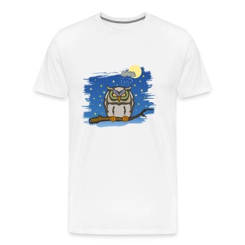 Eule Uhu Nachtschwärmer Vollmond Regenwolke Sterne - Men's Premium T-Shirt