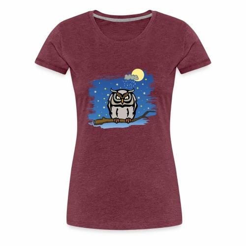 Eule Uhu Nacht Vollmond Regen Wolke Sterne Himmel - Frauen Premium T-Shirt