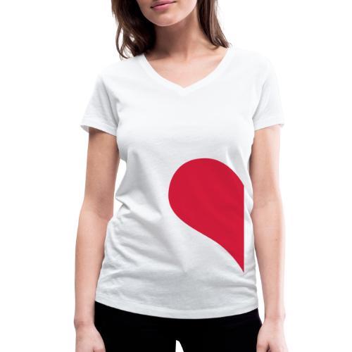 Herzhälfte - Frauen Bio-T-Shirt mit V-Ausschnitt von Stanley & Stella