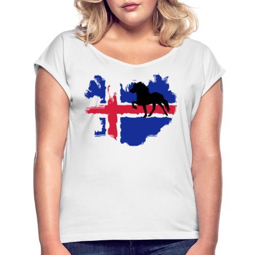 Isi Love - CLASSIC mit Wunschtext - Frauen T-Shirt mit gerollten Ärmeln