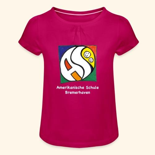 GIRL [weiss] - Mädchen-T-Shirt mit Raffungen