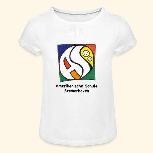 GIRL [schwarz] - Mädchen-T-Shirt mit Raffungen