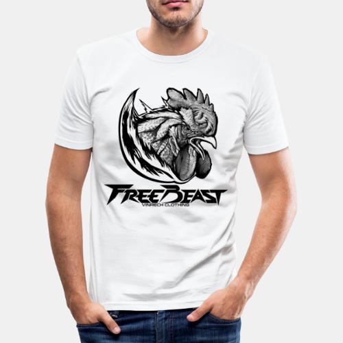 FREEBEAST - COQ SILVER - T-Shirt blanc homme - T-shirt près du corps Homme