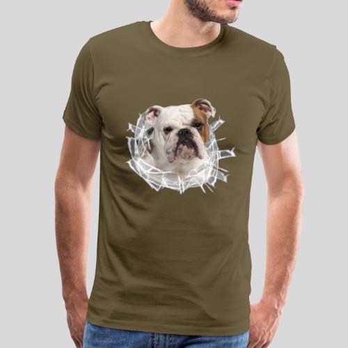 Englische Bulldogge *Glas-Loch* - Männer Premium T-Shirt