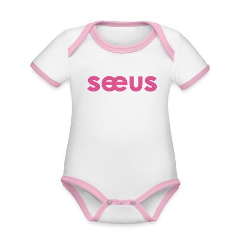Seeus - Baby contrasterend bio-rompertje met korte mouwen