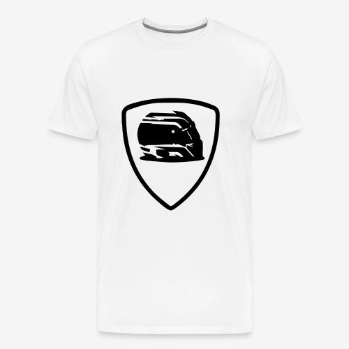 Motorsport White T-shirt Black Shield - T-shirt Premium Homme