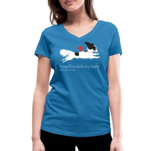 A papillon stole my heart! black and white papillon - Women's Organic V-Neck T-Shirt by Stanley & Stella