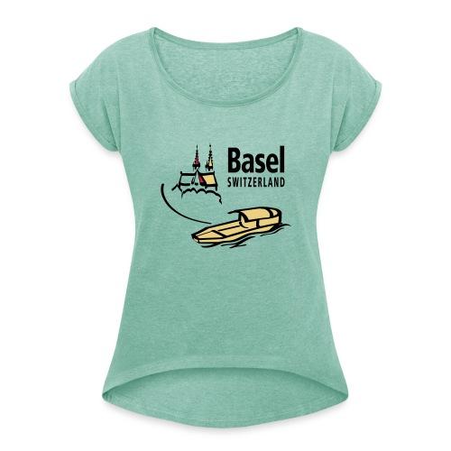 Basel Rhine - Frauen T-Shirt mit gerollten Ärmeln