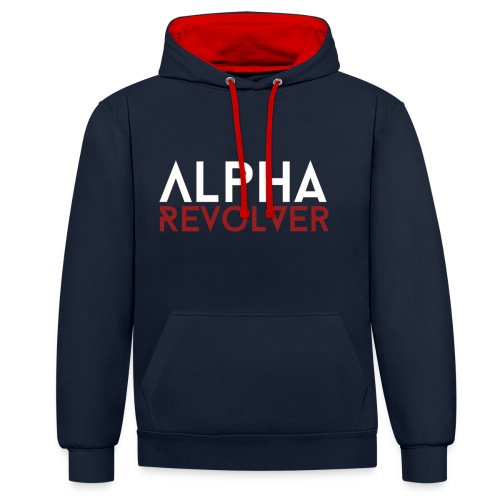AR Text Hoodie - Red and Blue - Contrast Colour Hoodie
