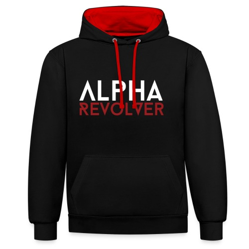 AR Text Hoodie - Black and red - Contrast Colour Hoodie