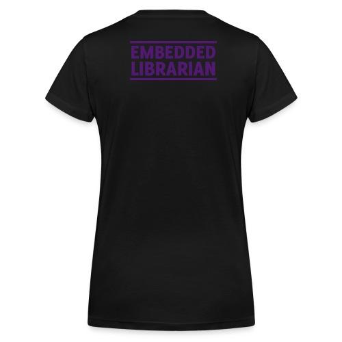 damen-t-shirt schwarz mit lila flock-druck - Frauen Bio-T-Shirt mit V-Ausschnitt von Stanley & Stella