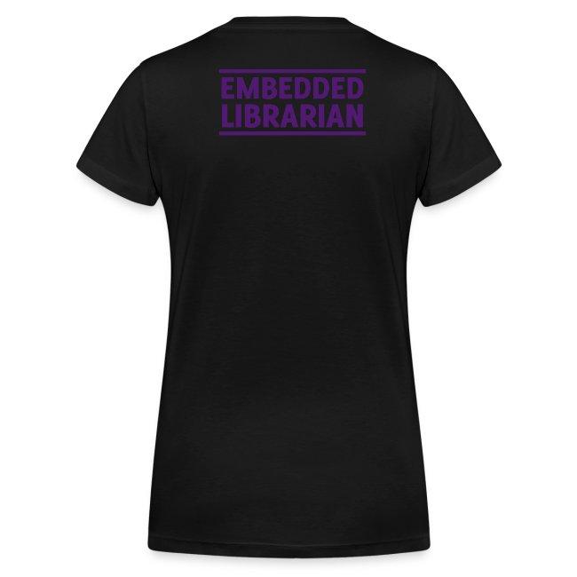 damen-t-shirt schwarz mit lila flock-druck