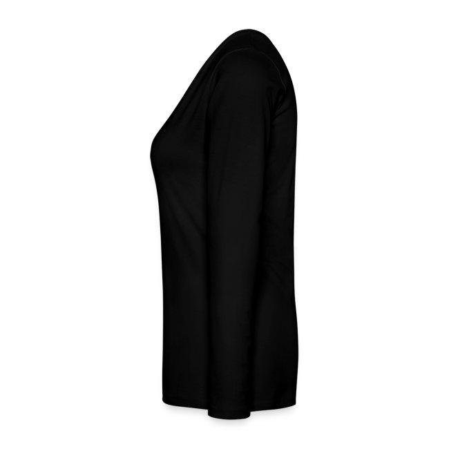 damen-langarm-shirt schwarz mit grauem flock-druck