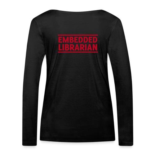 damen-langarm-shirt schwarz mit rotem flock-druck - Frauen Bio-Langarmshirt von Stanley & Stella