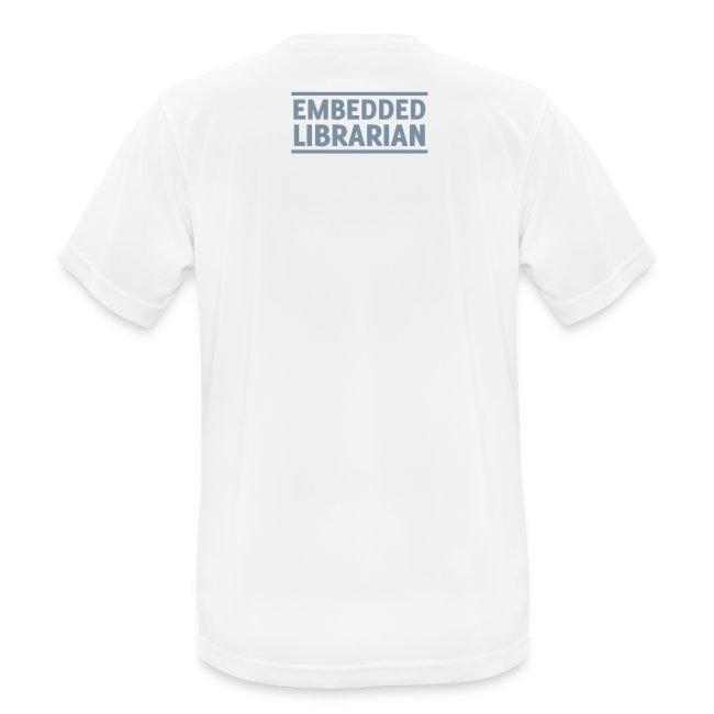 herren-t-shirt atmungsaktiv weiß mit silbernem druck