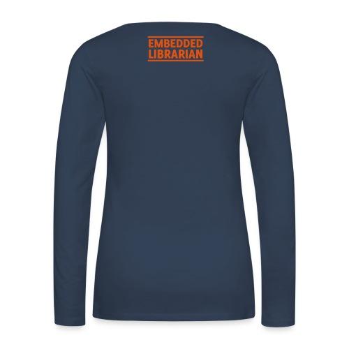damen-langarm-shirt navy mit orangenem flock-druck - Frauen Premium Langarmshirt