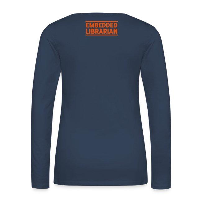 damen-langarm-shirt navy mit orangenem flock-druck