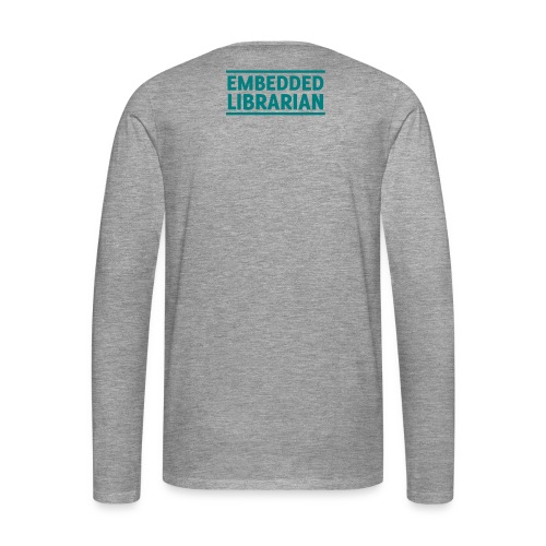 herren-langarm-shirt grau-meliert mit türkisfarbenem druck - Männer Premium Langarmshirt