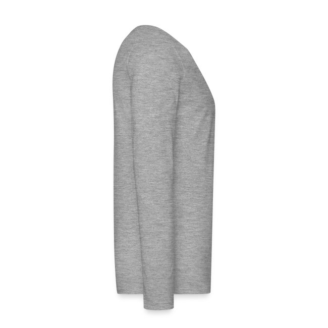 herren-langarm-shirt grau-meliert mit türkisfarbenem druck