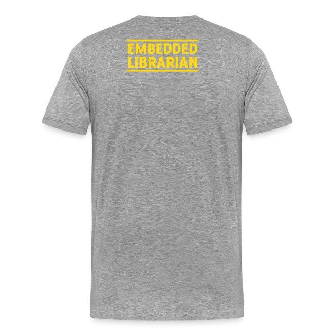 herren-t-shirt grau-meliert mit gelbem flock-druck