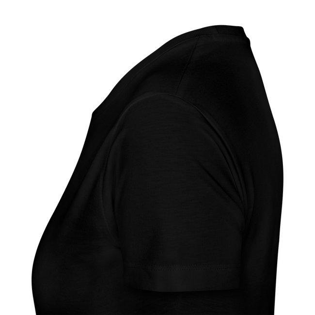 damen-t-shirt schwarz mit grauem flock-druck