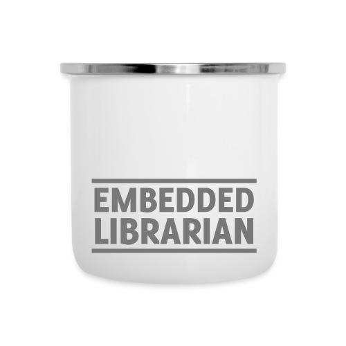 emaille-becher mit grauem druck - Emaille-Tasse
