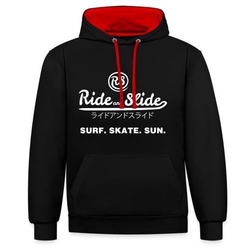 Sweat-shirt contraste SURF SKATE SUN noir - Sweat-shirt contraste
