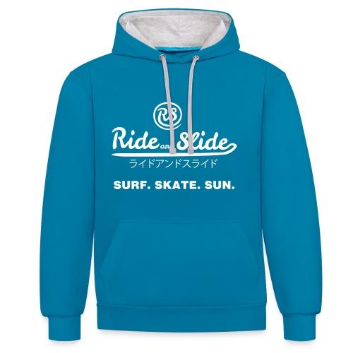 Sweat-shirt contraste SURF SKATE SUN bleu - Sweat-shirt contraste