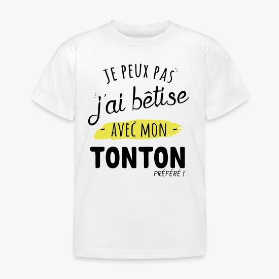 T-shirt Bêtise avec tonton blanc par Tshirt Family