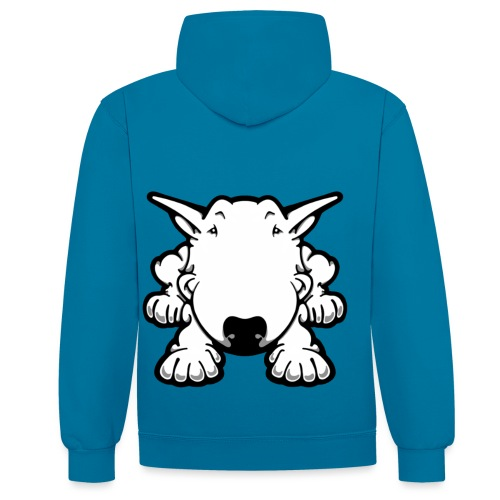 Bull Terrier Play - Contrast Colour Hoodie