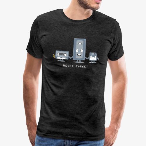 Never Forget VHS, Floppy, Kassette - Männer Premium T-Shirt