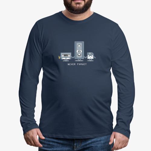 Never Forget VHS, Floppy, Kassette - Männer Premium Langarmshirt