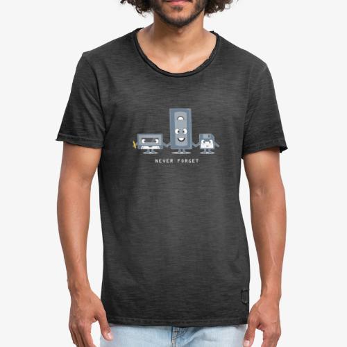 Never Forget VHS, Floppy, Kassette - Männer Vintage T-Shirt