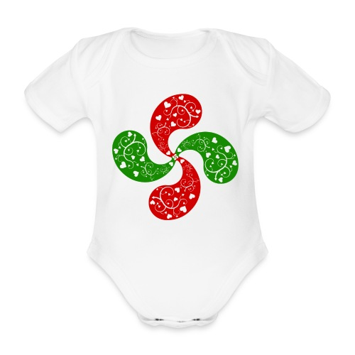 Basque hearts cross - Body bébé bio manches courtes