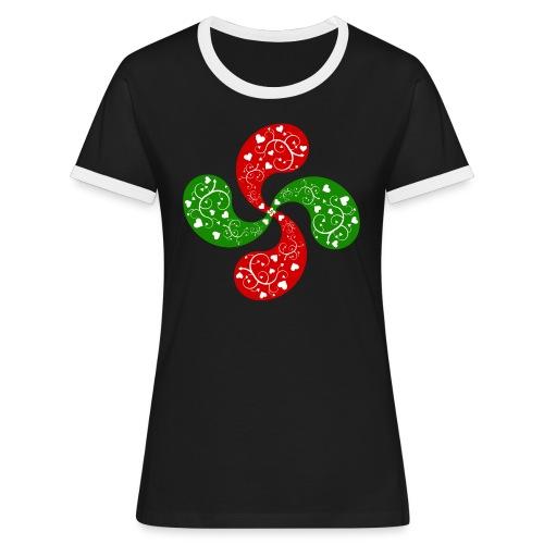 Basque hearts cross - T-shirt contrasté Femme