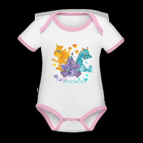 Gang Smoków - Ekologiczne body niemowlęce z krótkim rękawem i kontrastowymi lamówkami