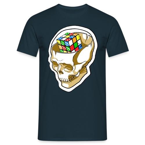 Kaizo Minds Rubix Cube Skull (Navy) - Men's T-Shirt