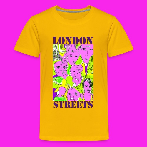 London Streets Stencil Yellow teen - Teenage Premium T-Shirt