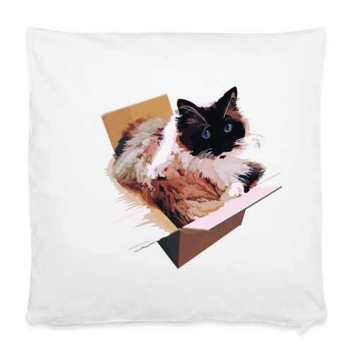 Ragdoll-Katze im Karton - Kissenbezug 40 x 40 cm