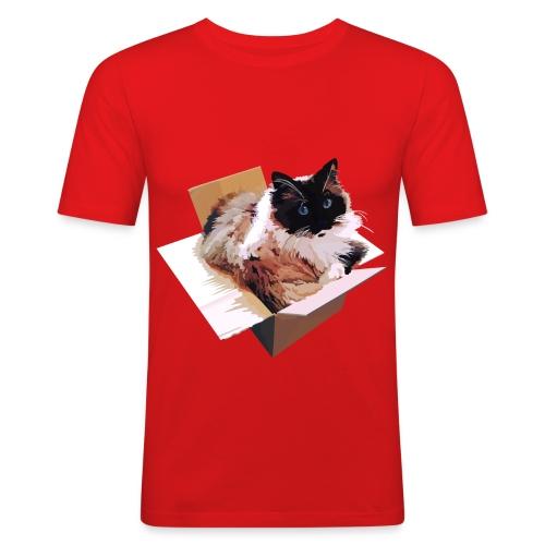 Ragdoll-Katze im Karton - Männer Slim Fit T-Shirt