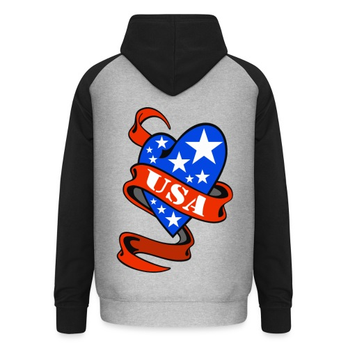 USA Heart - Sweat-shirt baseball unisexe