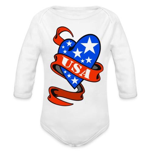 USA Heart - Body bébé bio manches longues