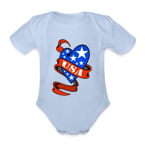 USA Heart - Body bébé bio manches courtes