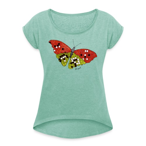Go Butterfly - Women's T-Shirt with rolled up sleeves