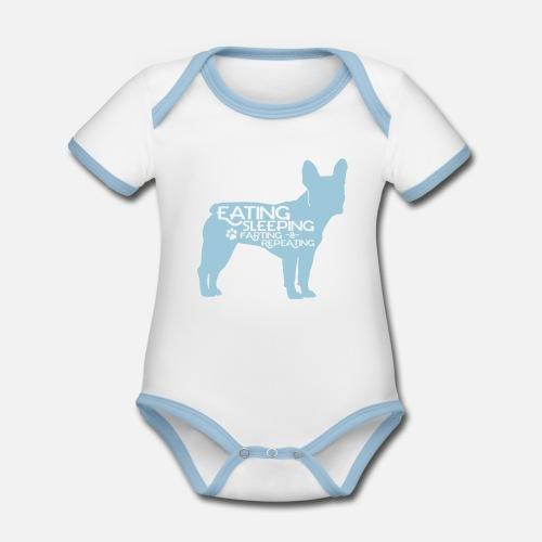 French Bulldog - Eat, Sleep, Fart & Repeat - Baby Bio-Kurzarm-Kontrastbody