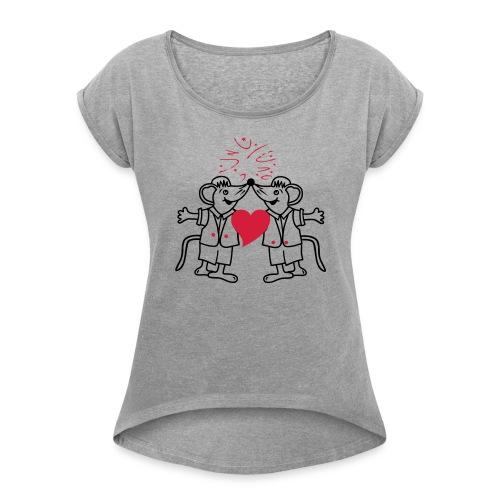 Mäuse - Frauen T-Shirt mit gerollten Ärmeln