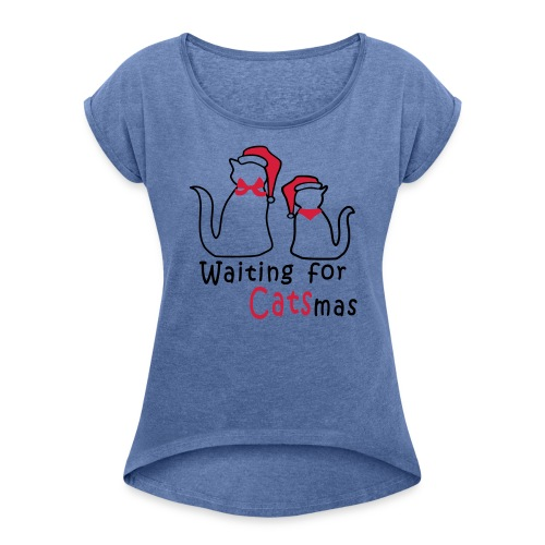 Katzen-Weihnacht - Frauen T-Shirt mit gerollten Ärmeln