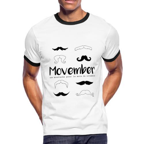 """T-shirt Homme Moustache pour le mois"""" - T-shirt contrasté Homme"""